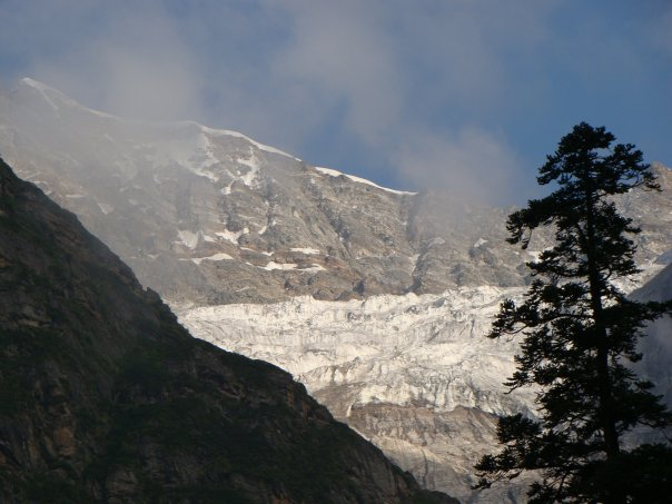 A view of snow-capped glaciers from the valley.
